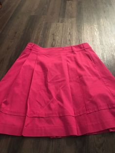 NEW White House Black Market Skirt pleated $88 Stretch Waist Red Tan Lined