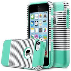 ULAK [2in1 Shield Series] Slim Hybrid Dual Layer Case Fit for Apple iPhone 5C with Rugged TPU Inner Case / PC Hard Cover-(Black & white stripes+Mint Green) ULAK http://www.amazon.com/dp/B017DEV7HK/ref=cm_sw_r_pi_dp_E5.vwb0M18Q31