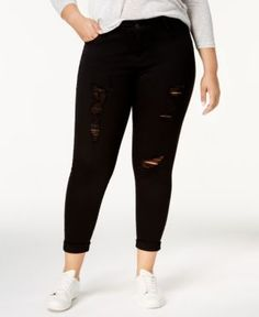6199c2bb333d5 Celebrity Pink Plus Size Ripped Skinny Jeans - Black 22W Plus Size Ripped  Jeans