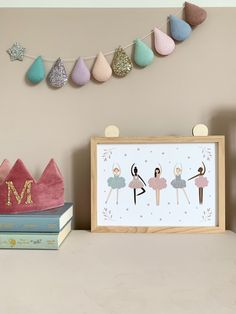 Ballerina, ballet wall art posters. Huge range of affordable + high quality wall art prints. Posters and printables for adult spaces, children's bedrooms, nursery and playrooms. Personalised initials. Typography and inspirational quotes to suit any decor or interior style. Soft pink toddler girls bedroom with wooden star wall hooks. Home decor // Kids bedroom design // posters #wallart #nursery #playroom