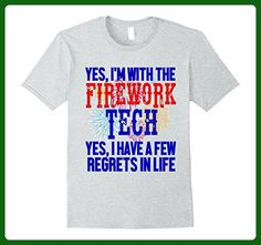 Mens Funny Fireworks Techs Partner Shirt Gag Gift July 4th Regret 2XL Heather Grey - Holiday and seasonal shirts (*Amazon Partner-Link)