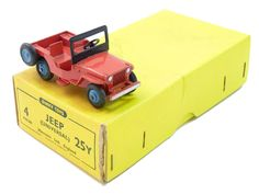 Dinky Toys Universal Jeep Red Body - Blue Cast Hubs - Open Front Bumper with Trade Box £220