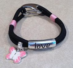 Black and Pink Bungee Cord Bracelet with Love Charm by TandSDesign