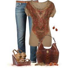 """""""Tee + Jeans"""" by tufootballmom on Polyvore"""