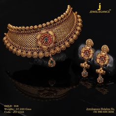 Finesse of Jewellery. Get In Touch With us on Bridal Necklace Set, Gold Choker Necklace, Bridal Jewelry, Diamond Choker, Earrings, Antique Jewellery Designs, Gold Jewellery Design, Gold Jewelry, Antique Jewelry