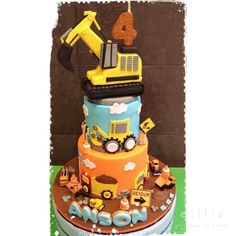 "22 Likes, 2 Comments - Ellen Kurniawan Santoso (@cakeobyellen) on Instagram: ""anson's #excavator #constructionthemedcake #constructioncake with #bigtopper. Dummy round 24 and…"""