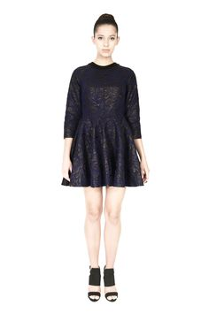 'Wave' embroidered black foil printed canvas skater dress with raglan sleeves and a conceal zip bone detail. Morphe, Party Fashion, Skater Dress, Zip Ups, Wave, Personal Style, Luxury Shop, Formal Dresses, Womens Fashion