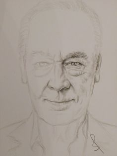 Pencil portrait of Christopher Plummer by Sophie E Tallis