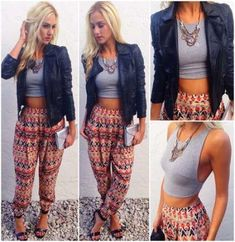 Harem pants crop top leather jacket 50 How to Wear Harem Pants to Copy Right Now outfits for teen Fashion Pants, Boho Fashion, Autumn Fashion, Fashion Outfits, Womens Fashion, Harem Pants Outfit, Joggers Outfit, Hippie Chic, How To Wear Joggers