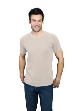 natural ONNO bamboo and organic t-shirt for men. Natural like the earth. Wearing this tee is like getting a day-long hug from nature. Also available in hemp in similar sand color.