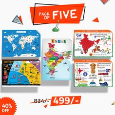 Educational charts Pack offer for Primary Schoolers  -  India Map, World Map, History Of Life, Our Freedom Struggle