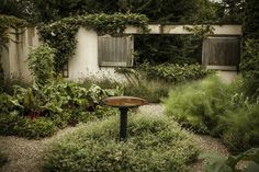 walled kitchen garden at the home of Ina Garten, East Hampton, Long Island, New York