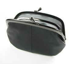 Leather Purse with Divider Black