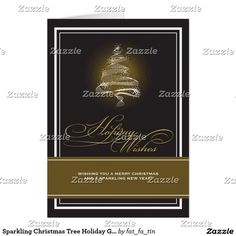 sparkling christmas tree holiday greeting card - Corporate Greeting Cards