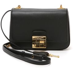 Michael Kors Collection Gia Small Chain Shoulder Flap ($490) ❤ liked on Polyvore featuring bags, handbags, shoulder bags, black, black purse, leather purse, black leather crossbody, leather crossbody purse and black crossbody