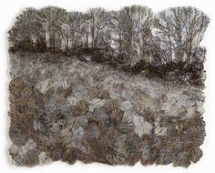Lesley Richmond, from the Distant Forest Series Art Textile, Textile Artists, Cotton Silk Fabric, Quilt Stitching, Quilting, Tree Quilt, Thread Painting, Weaving Art, Artist