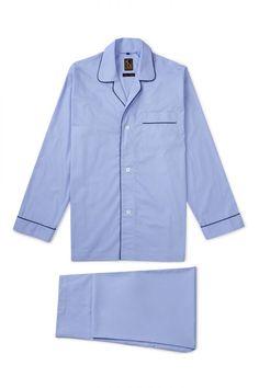 055969884e NEW   LINGWOOD Pale Blue Navy Plain Cotton Piped Pyjama Set  450.00 Mens  Sleepwear