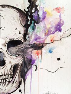 Smokin' Skull Original Watercolor and Ink painting; Framed Art; Modern Art; Tattoo Art; Art By Jen Duran on Etsy, $150.00
