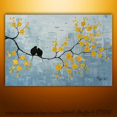Abstract Landscape Tree Birds Painting Textured Modern by Catalin