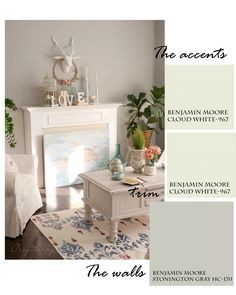 Family Room Paint Colors - Craftberry Bush - Benjamin Moore Cloud White and Stonington Gray Indoor Paint Colors, New Paint Colors, Popular Paint Colors, Neutral Paint Colors, Favorite Paint Colors, Benjamin Moore Cloud White, Interior House Colors, Home Decor Paintings, Inspired Homes