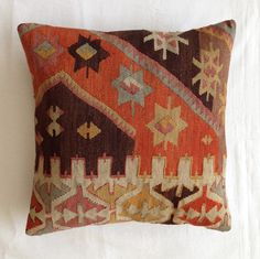 16x16 KILIM PILLOW Cover,Handwoven Throw Pillow,Made out of Kilim Rug                                                                                                                                                                                 More
