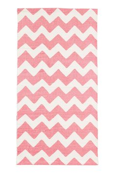 Zigzag-print cotton rug - White/Pink - Home All | H&M GB