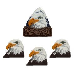 Eagle Head Coaster Set Plastic Canvas Pattern