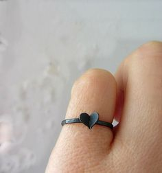 Black heart ring oxidized sterling silver skinny ring. by lunahoo, $26.95