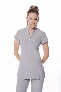 Our new uniform keep the wearer cool, comfortable and looking smart and professional at all times Spa Uniform, Work Uniforms, Nursing Uniforms, Medical Uniforms, Spring Spa, Uniform Design, Business Dresses, Cool Fabric, Mandarin Collar