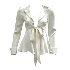 70S OSSIE CLARK WHITE TIE-FRONT JACKET | From a collection of rare vintage jackets at https://www.1stdibs.com/fashion/clothing/jackets/
