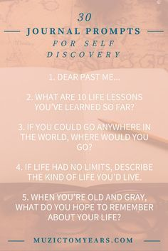30 Journal Prompts for self discovery an self reflection. I lve journaling. Keeping a diary has many benefits but sometimes you just don't know what to write. Here are 30 journaling prompts that encourage self love and self exploration! Click through to see the journaling prompts.