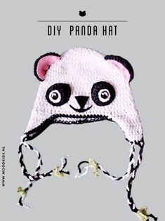 diy patroon panda dierenmuts haken, gratis haakpatroon kindermuts - crochet a panda hat