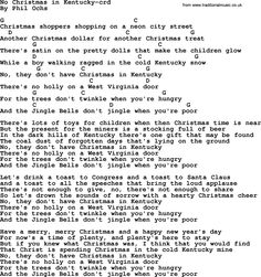 Phil Ochs Song No Christmas In Kentucky By Lyrics And Chords