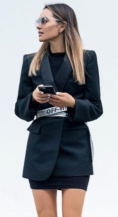 Maria Hatzistefanis - Mrs Rodial - Balenciaga Blazer dress - Off White Belt - Street Style - Power Dressing