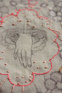 Sophie MORILLE. idea. trace family hands/feet - embroider & embellish. children/adult