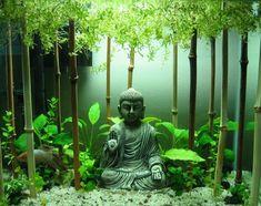 Buddha bamboo sticks goldfish aquarium small original decoration