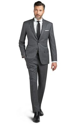 Pall Mall Grey Mouline Weave 2-Button Slim Fit Suit,