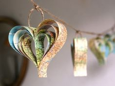 map hearts  These would be great for a Bon Voyage party.