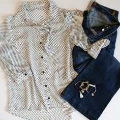 #ootd Archive - Sheer Polka Dotted Blouse with Dojo Jeans from 7 For All Mankind and Kinsley Armelle Bracelets. NOTHING OVER $20!