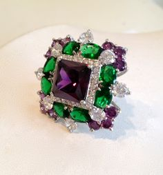Vintage Emerald Amethyst and Diamond Estate Jewelry Ring, via Etsy.