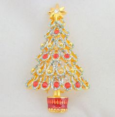 CHRISTOPHER RADKO Rhinestone & Glitter Christmas Tree Pin