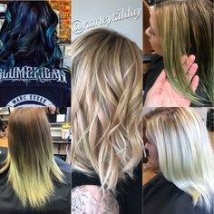 Karley transformed this client color with an intense color correction session from blue/black to this summer ready blonde. Check out picture to the left for the final result!