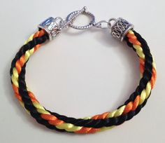 Black Orange and Yellow Braided Kumihimo Bracelet