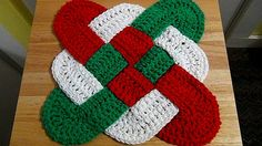 Christmas Crochet Hot Pad - Celtic Knot Design Hot Pad - Holiday Trivet - Red White Green Decor