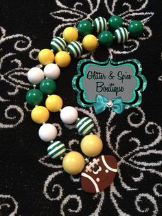 Green Bay theme Bubblegum necklace matching tutu coming soon! Go check them out on the Glitter & Spice Facebook page!