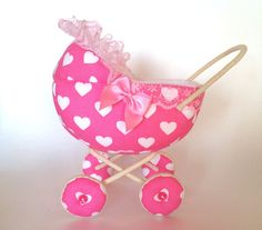 Pink Baby Carriage for small doll/ Dollhouse accessory by AnnaToys