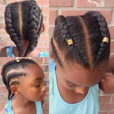Natural hairstyle for girls Cornrows + hair jewelry  Natural hair