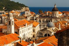 Dubrovnik old town in the late afternoon, from the city wall.