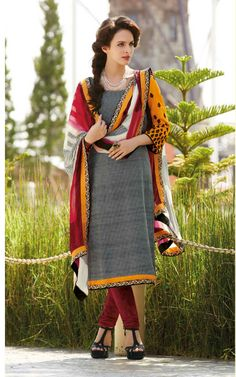 GREY & MAROON BHAGALPURI SILK SALWAR KAMEEZ - DIF 29107