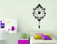 Black Wall Clock Large Decoration Removable Sticker 50 x 90 / 19.68' X 35.43' Style Sticker Home Decor DIY Decal * Click on the image for additional details-affiliate link. #WallStickersMurals